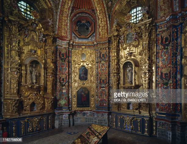 Gilded stucco decorations in the Loreto Chapel, inside the church of St Francis Xavier, Tepotzotlan, Mexico, 18th century.