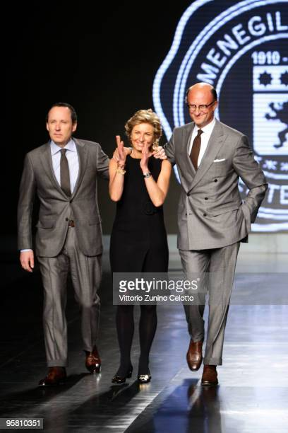 Gildo Anna and Paolo Zegna acknowledge the applause of the public after the Ermenegildo Zegna Milan Menswear Autumn/Winter 2010 show on January 16...