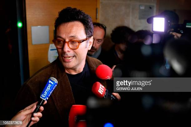 Gildo Pallanca, son of late Helene Pastor, speaks to journalists at the assizes of Bouches-du-Rhone, in Aix-en-Provence, southern France on October...