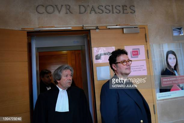 Gildo PallancaPastor the son of late billionaire heiress Helene Pastor and his lawyer Gerard Baudoux arrive at the Assize Court of Appeal of...