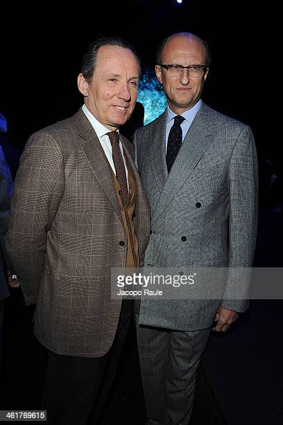 Gildo Zegna and Paolo Zegna attend the Ermenegildo Zegna show as a part of Milan Fashion Week Menswear Autumn/Winter 2014 on January 11, 2014 in...