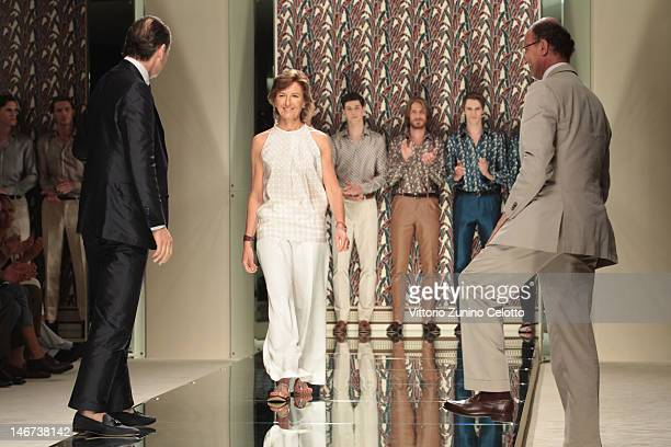Gildo Zegna designer Anna Zegna and Paolo Zegna acknowledge the applause of the audience after the Ermenegildo Zegna show as part of Milan Fashion...