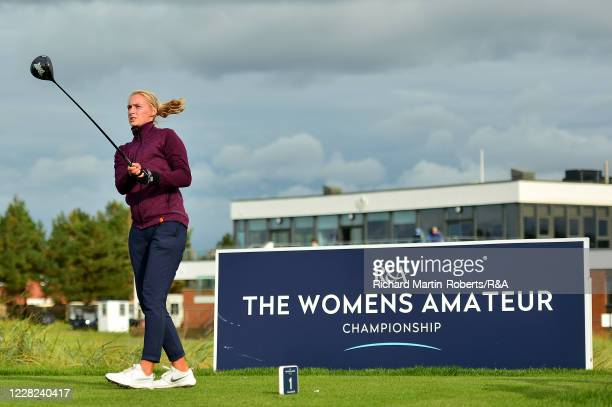 Gile Bite Starkute of Lithuania tees off during the Quarter Finals on Day Four of The Women's Amateur Championship at The West Lancashire Golf Club...