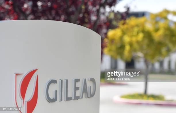 Gilead Sciences headquarters sign is seen in Foster City, California on April 30, 2020. - Gilead Science's remdesivir, one of the most highly...