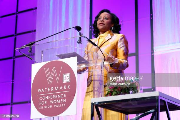 CFO Gilead Sciences Inc Robin Washington speaks onstage at the Watermark Conference for Women 2018 at San Jose Convention Center on February 23 2018...