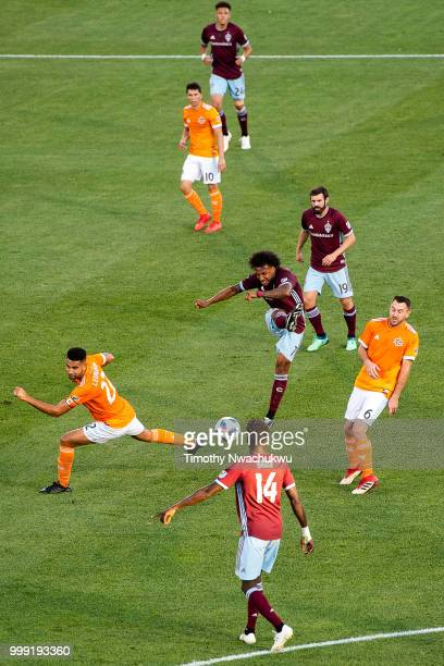 Giles Barnes of Colorado Rapids center attempts a shot against the Houston Dynamo at Dick's Sporting Goods Park on July 14 2018 in Commerce City...