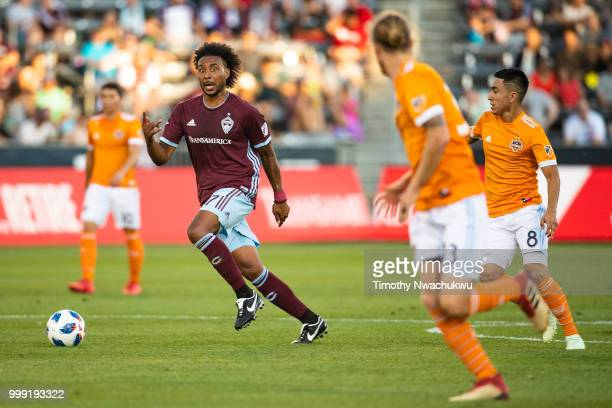 Giles Barnes of Colorado Rapids dribbles against the Houston Dynamo at Dick's Sporting Goods Park on July 14 2018 in Commerce City Colorado