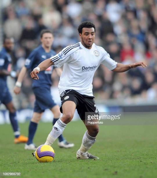 Giles Barnes of Derby in action during the Barclays Premier League match between Derby County and Tottenham Hotspur at Pride Park on February 9 in...