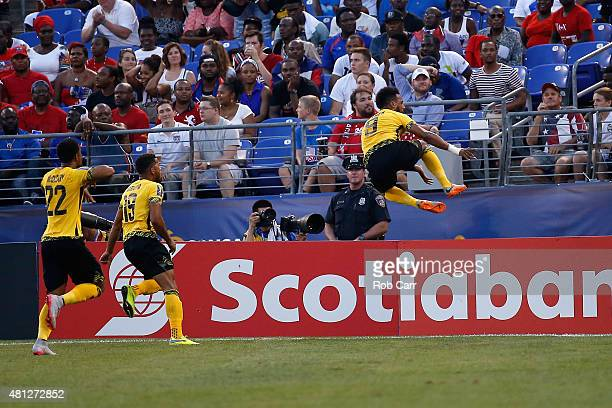 Giles Barnes of Jamaica celebrates after scoring a first half goal against Haiti during the 2015 CONCACAF Gold Cup quarterfinal match at MT Bank...