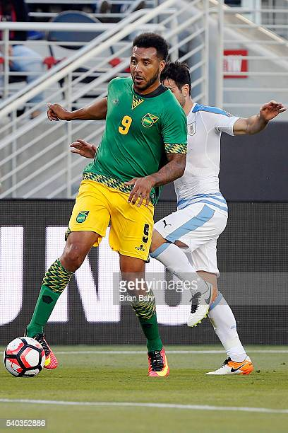 Giles Barnes of Jamaica controls the ball during a group C match between Uruguay and Jamaica at Levi's Stadium as part of Copa America Centenario US...