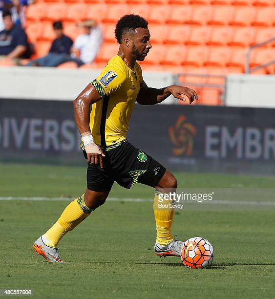 Giles Barnes of Jamaica during action in the first half against Canada at BBVA Compass Stadium on July 11 2015 in Houston Texas
