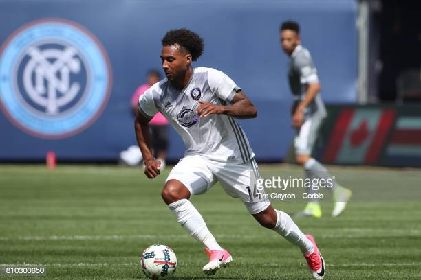 Giles Barnes of Orlando City SC in action during the New York City FC Vs Orlando City SC regular season MLS game at Yankee Stadium on April 23 2017...