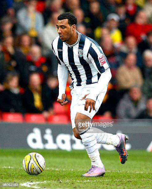 Giles Barnes of West Bromwich Albion in action during the Coca Cola Championship match between Watford and West Bromwich Albion at Vicarage Road on...