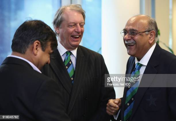 Giles Clarke President England and Wales Cricket Board speaks to Najam Sethi President Pakistan Cricket Board during the ICC Board Meeting on...