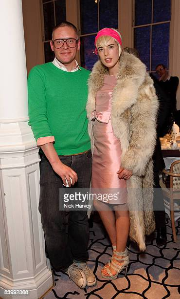 Giles Deacon and Agyness Deyn attend fashion magazine Love's Christmas Tea And Treasure Hunt at Royal Academy of Arts on December 10, 2008 in London,...