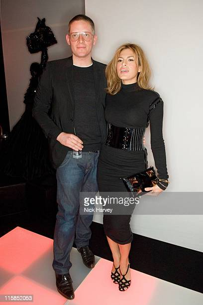 Giles Deacon and Eva Mendes during Mulberry For Giles Bags Launch Party Inside Arrivals at Harvey Nichols in London Great Britain