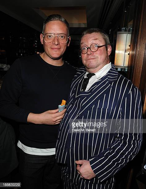 Giles Deacon and Fergus Henderson attend as Oyster Bar J Sheekey launches it's first cook book 'Fish' at J Sheekey Saint Martin's Court on November 8...