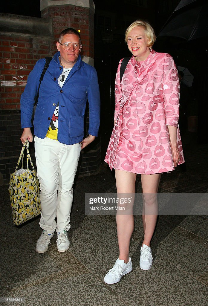 Giles Deacon and Gwendoline Christie at the Chiltern Firehouse for a Prada event on April 30, 2014 in London, England.
