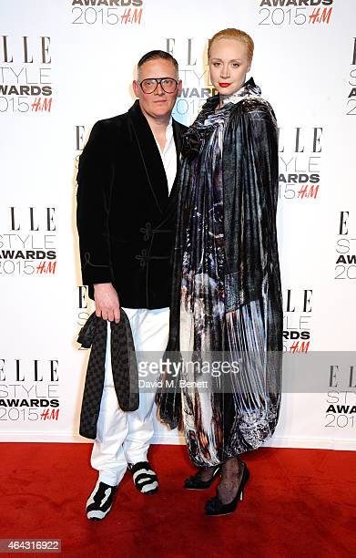 Giles Deacon and Gwendoline Christie attend the Elle Style Awards 2015 at Sky Garden @ The Walkie Talkie Tower on February 24 2015 in London England