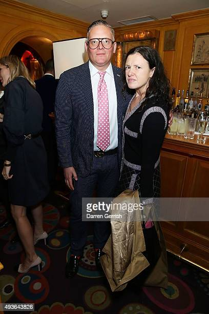 Giles Deacon and Katie Grand attend 'A Bigger Splash' premiere after party presented by AnOther x Dior at Annabel's on October 21 2015 in London...