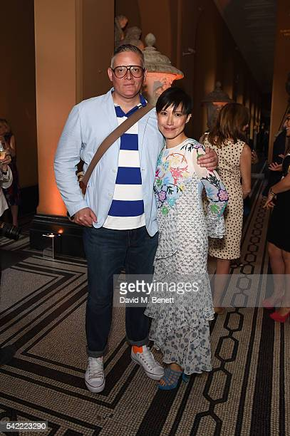 Giles Deacon and Sandra Choi attend the 2016 VA Summer Party In Partnership with Harrods at The VA on June 22 2016 in London England