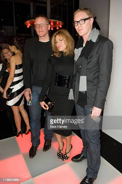Giles Deacon Eva Mendes and Stuart Vevers during Mulberry For Giles Bags Launch Party Inside Arrivals at Harvey Nichols in London Great Britain