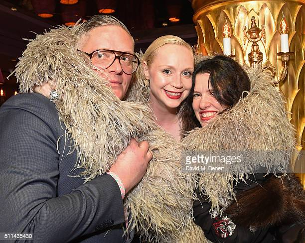 Giles Deacon Gwendoline Christie and Katie Grand attend the Marc Jacobs Beauty dinner at the Club at Park Chinois on February 20 2016 in London...