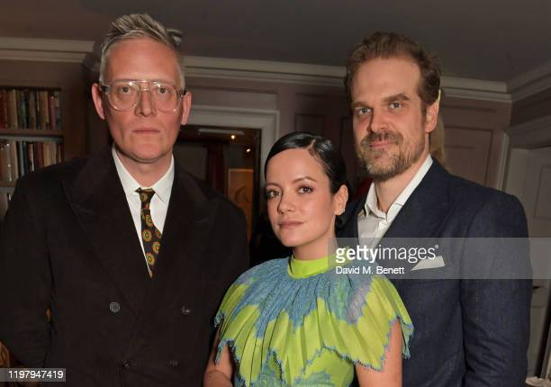 Giles Deacon Lily Allen and David Harbour attend the Charles Finch CHANEL PreBAFTA Party at 5 Hertford Street on February 1 2020 in London England