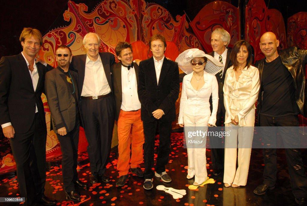 Giles Martin, Ringo Starr, Sir George Martin, director Dominic Champagne, Sir Paul McCartney, Yoko Ono, guest, Olivia Harrison and Cirque du Soleil founder Guy Laliberte *EXCLUSIVE*
