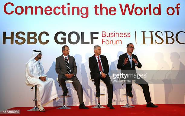 Giles Morgan HSBC Global Head of Sponsorship and Events addresses the 2014 HSBC Golf Business Forum at The Westin Hotel at Abu Dhabi Golf Club on...