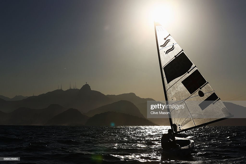 Giles Scott of Great Britain competes in the Men's Finn class on Day 9 of the Rio 2016 Olympic Games at the Marina da Gloria on August 14, 2016 in Rio de Janeiro, Brazil.