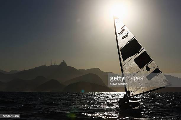 Giles Scott of Great Britain competes in the Men's Finn class on Day 9 of the Rio 2016 Olympic Games at the Marina da Gloria on August 14 2016 in Rio...