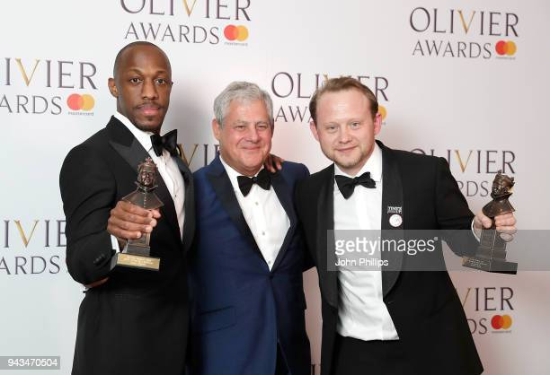Giles Terera winner of the Best Actor in a Musical award for 'Hamilton' Sir Cameron Mackintosh and Michael Jibson winner of the Best Actor In A...