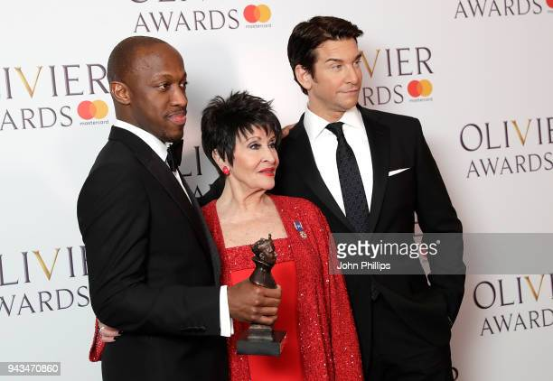 Giles Terera winner of the Best Actor in a Musical award for 'Hamilton' poses with Chita Rivera and Andy Karl in the press room during The Olivier...