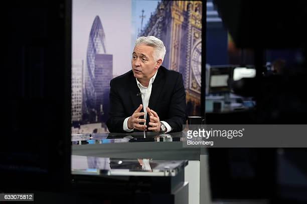 Giles Turrel chief executive officer of Weetabix Ltd gestures while speaking during a Bloomberg Television interview in London UK on Monday Jan 30...