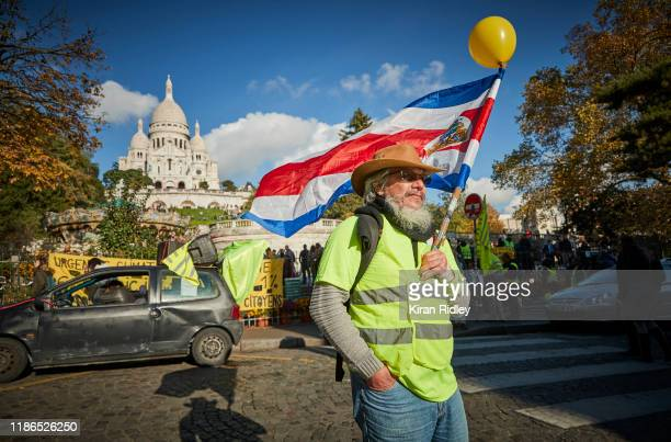 Gilets Jaunes, or yellow vest, protestors gather at Sacre Coeur in Monmartre ahead act 52 of protests, which next week celebrates its one year...