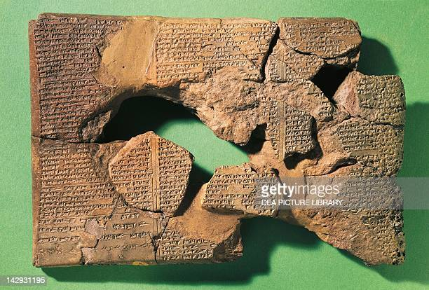 Gilgamesh Tablet written in cuneiform script. Artefact from Nineveh, Iraq. Babylonian civilisation, 5th Century BC. London, British Museum