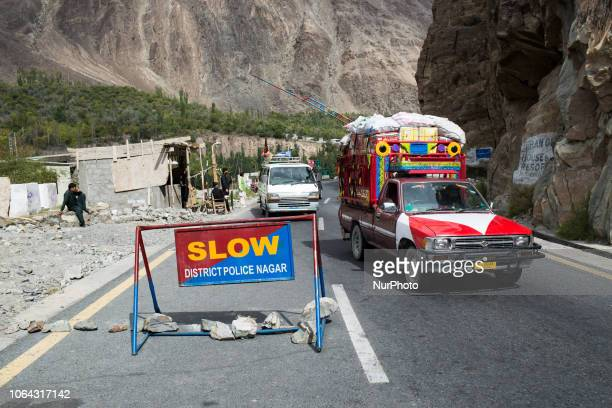 Gilgit, Pakistan, 25 September 2018. A checkpoint on the Karakoram road between Gilgit and Karimabad along the Hunza Valley. For the past ten years,...
