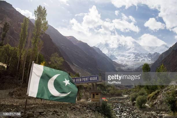 Gilgit, Pakistan, 25 September 2018. A view of Rakaposhi from the Karakoram road between Gilgit and Karimabad.