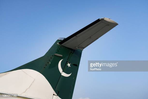 Gilgit Pakistan 25 September 2018 A view of the flag of Pakistan on a passenger plane of the airline PIA Pakistan International Airline