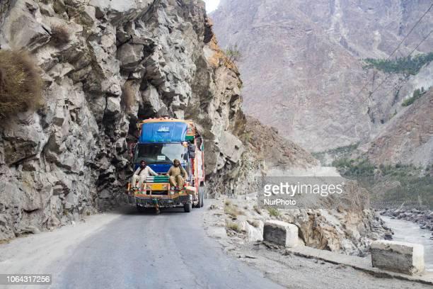 Gilgit, Pakistan, 26 September 2018. A decorated truck on the GilgitSkardu Road. Also called the Strategic Highway, the GilgitSkardu Road is a...