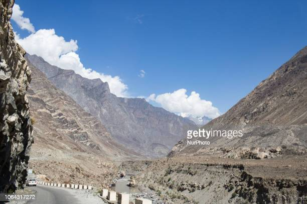 Gilgit, Pakistan, 26 September 2018. A view of the Gilgit-Skardu road along the cliff. Also known as the Strategic Highway, the Gilgit-Skardu Road is...