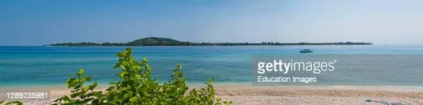 Gili Trawangan island panorama from Gili Meno, Gili Islands, Indonesia, Asia, Asia.