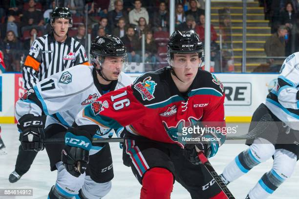 Gilian Kohler of the Kootenay Ice back checks Kole Lind of the Kelowna Rockets during second period on December 2 2017 at Prospera Place in Kelowna...