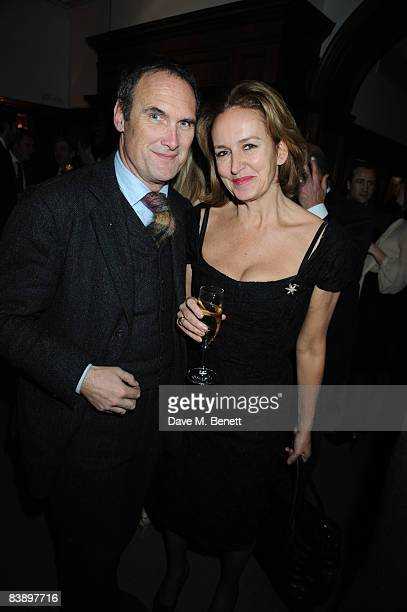 AA Gill and Caroline Michelle attend The Spectator GQ Magazines Politics Meet Style Party at Brown's Hotel in Albemarle Street on December 2 2008 in...