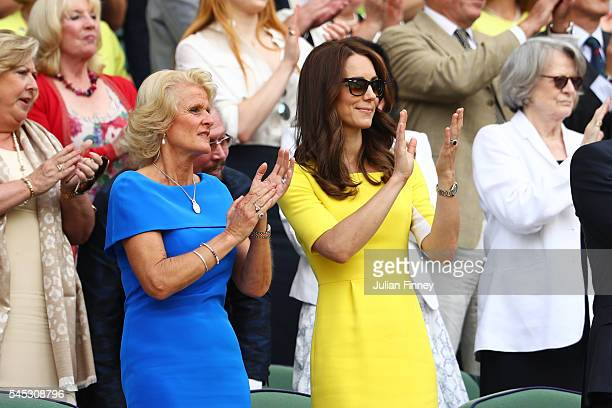 Gill Brook and Catherine Duchess of Cambridge watch on from The Royal Box on day ten of the Wimbledon Lawn Tennis Championships at the All England...