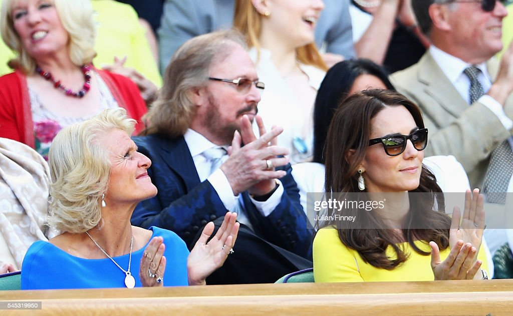 Gill Brook and Catherine, Duchess of Cambridge watch on from The Royal Box on day ten of the Wimbledon Lawn Tennis Championships at the All England Lawn Tennis and Croquet Club on July 7, 2016 in London, England.