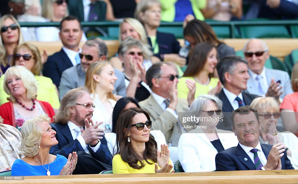 Gill Brook, Phill Brook and Catherine, Duchess of Cambridge watch on from The Royal Box on day ten of the Wimbledon Lawn Tennis Championships at the All England Lawn Tennis and Croquet Club on July 7, 2016 in London, England.