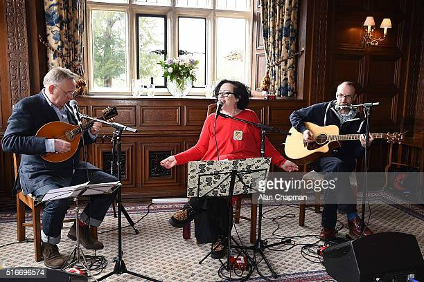 Gill Manly performs at ActionAid's Tea and Inspiration charity fundraising event at Gravetye Manor on March 20 2016 in East Grinstead England