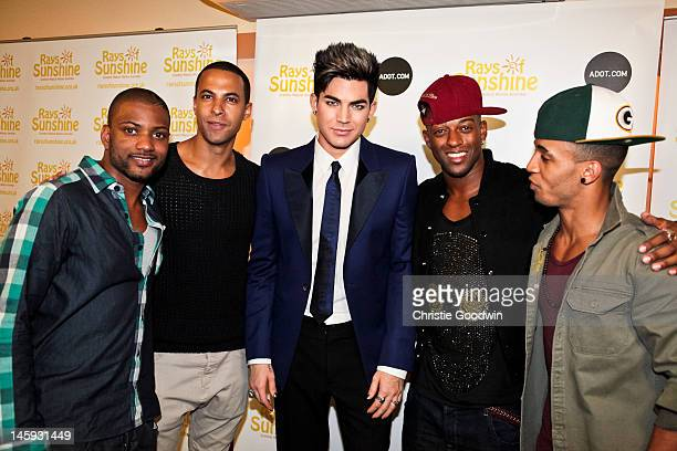 JB Gill Marvin Humes Adam Lambert Oritse Williams and Aston Merrygold pose backstage ahead of the Rays Of Sunshine charity event as the runnerup of...